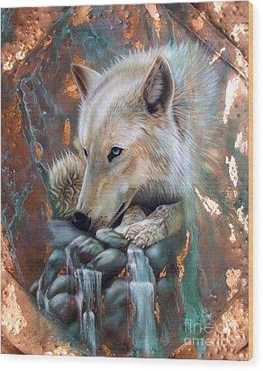 Copper Arctic Wolf Wood Print by Sandi Baker