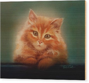 Copper-colored Kitty Wood Print by Evie Cook