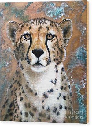 Copper Flash - Cheetah Wood Print by Sandi Baker