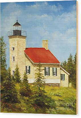 Wood Print featuring the painting Copper Harbor Lighthouse by Lee Piper