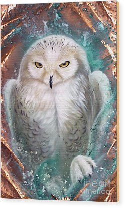 Copper Snowy Owl Wood Print