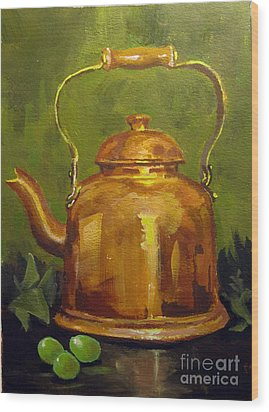 Wood Print featuring the painting Copper Teakettle by Carol Hart