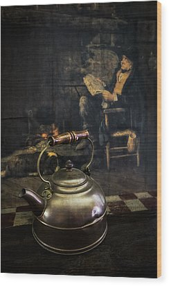 Copper Teapot Wood Print by Debra and Dave Vanderlaan