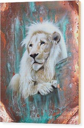 Copper White Lion Wood Print by Sandi Baker