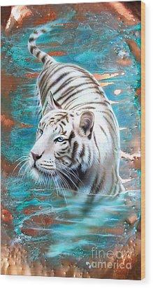 Copper White Tiger Wood Print by Sandi Baker
