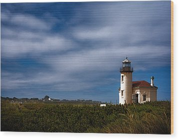 Coquille River Lighthouse Wood Print by Joan Carroll