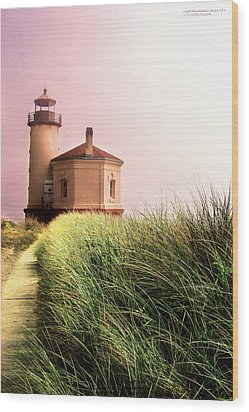 Coquille River Lighthouse Oregon Wood Print by Rafael Escalios