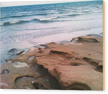 Coquina Blue Wood Print by Julie Wilcox