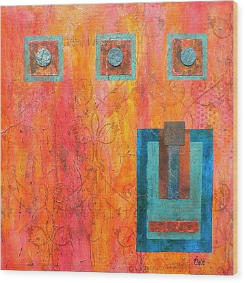 Coral And Turquoise Wood Print by Debi Starr