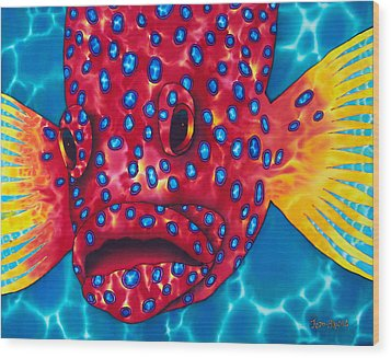 Coral Grouper Wood Print by Daniel Jean-Baptiste
