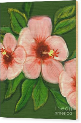 Coral Hibiscus  Wood Print by Christine Fournier