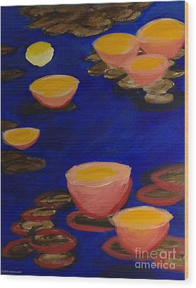 Wood Print featuring the painting Coral Lily Pond by Anita Lewis