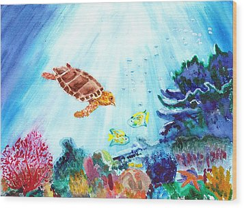 Wood Print featuring the painting Coral Reef by Donna Walsh