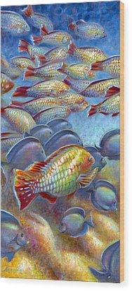 Wood Print featuring the painting Coral Reef Life I by Nancy Tilles