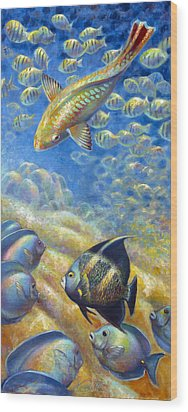 Wood Print featuring the painting Coral Reef Life IIi by Nancy Tilles