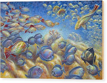 Wood Print featuring the painting Coral Reef Life by Nancy Tilles