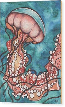 Coral Sea Nettle Jellyfish Wood Print