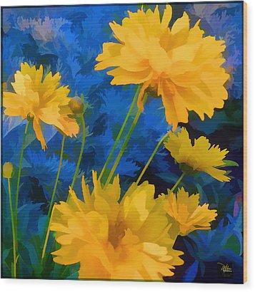 Coreopsis - Yellow And Blue Wood Print by Douglas MooreZart