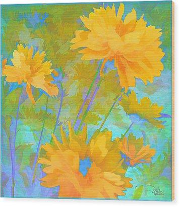 Coreopsis - Yellow And Green Wood Print by Douglas MooreZart