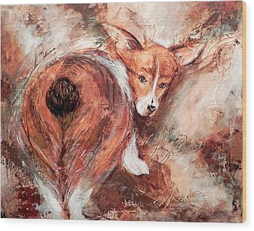 Wood Print featuring the painting Corgi Butt by Patricia Lintner