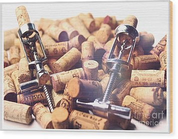 Corks And Corkscrews  Wood Print by Stefano Senise