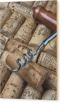 Corkscrew On Corks Wood Print by Garry Gay