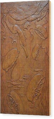 Cormorant And Moon Jellyfish - Yokojikkengawa River Wood Print by Jeremiah Welsh
