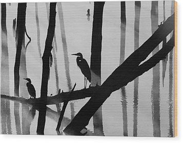 Cormorant And The Heron  Bw Wood Print