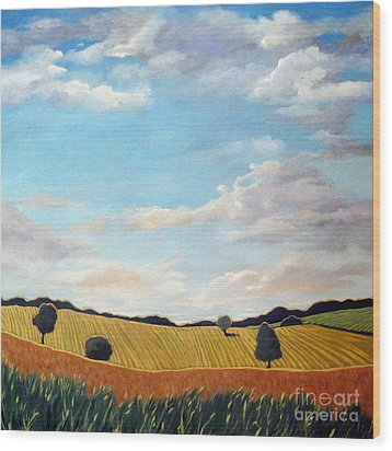 Corn And Wheat - Landscape Wood Print by Linda Apple
