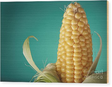 Corn On The Cob Wood Print by Sharon Dominick