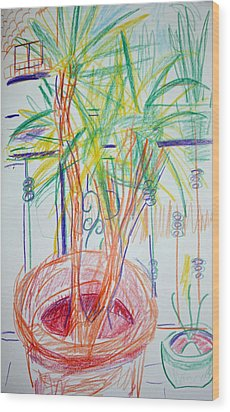Corn Plant On Balcony Wood Print by Anita Dale Livaditis