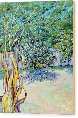 Wood Print featuring the painting Corn Stalk And Apple Tree  Autumn Lovers by Asha Carolyn Young