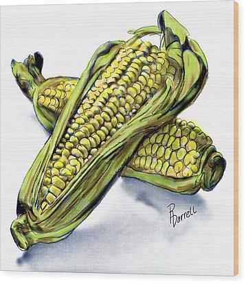 Corn Study Wood Print by Ric Darrell