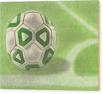 Corner Kick Wood Print by Troy Levesque