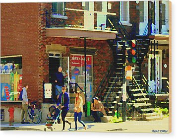 Corner Laurier Marche Maboule Depanneur Summer Stroll With Baby Carriage Montreal Street Scene Wood Print by Carole Spandau