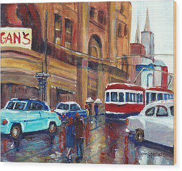 Corner St.catherine And Union Streets-fifties Montreal-vintage Street Scene Wood Print by Carole Spandau