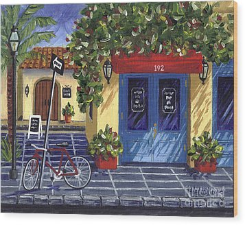 Wood Print featuring the painting Corner Store by Val Miller