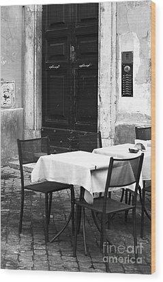Corner Table Wood Print by John Rizzuto