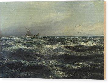 Cornish Sea And Working Boat Wood Print by Charles William Hemy