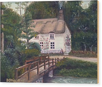 Cornwall Cottage Wood Print