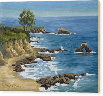 Corona Del Mar California Wood Print by Alice Leggett