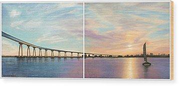 Coronado Bridge Sunset Diptych Wood Print