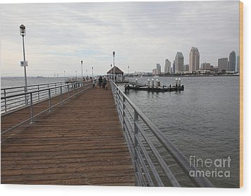 Coronado Pier Overlooking The San Diego Skyline 5d24353 Wood Print by Wingsdomain Art and Photography