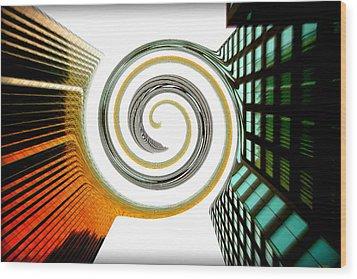 Corporate Merging Wood Print by Valentino Visentini