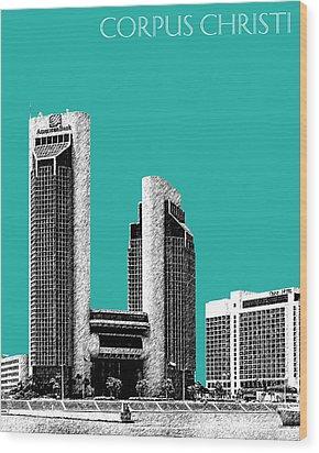 Corpus Christi Skyline - Teal Wood Print by DB Artist