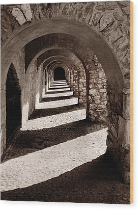 Corridors Of Stone Wood Print