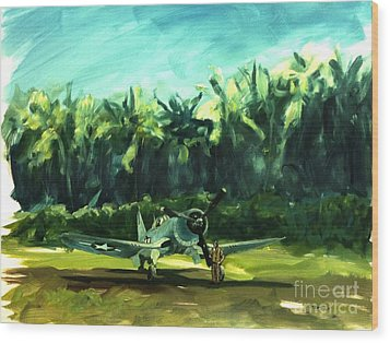 Wood Print featuring the painting Corsair In Jungle by Stephen Roberson