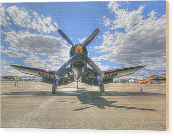 Corsair On The Flight Line At Reno Air Races Wood Print