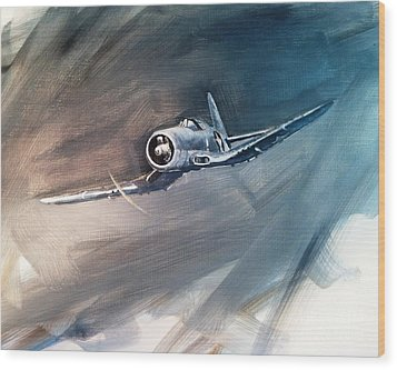Wood Print featuring the painting Corsair Sketch 1 by Stephen Roberson