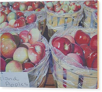 Wood Print featuring the mixed media Cortland Apples by Constance Drescher